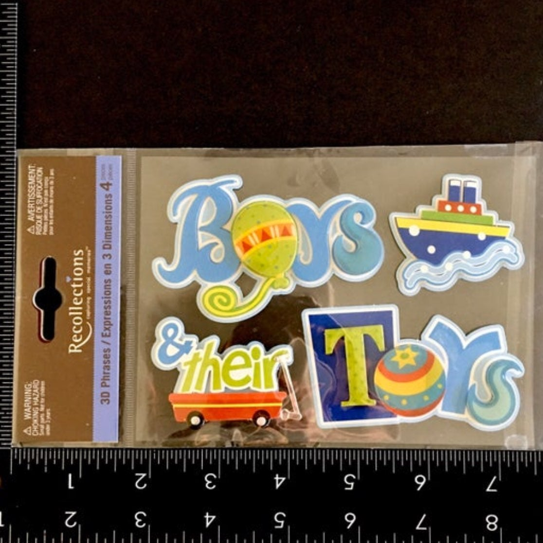 Boys & their Toys Dimensional Stickers