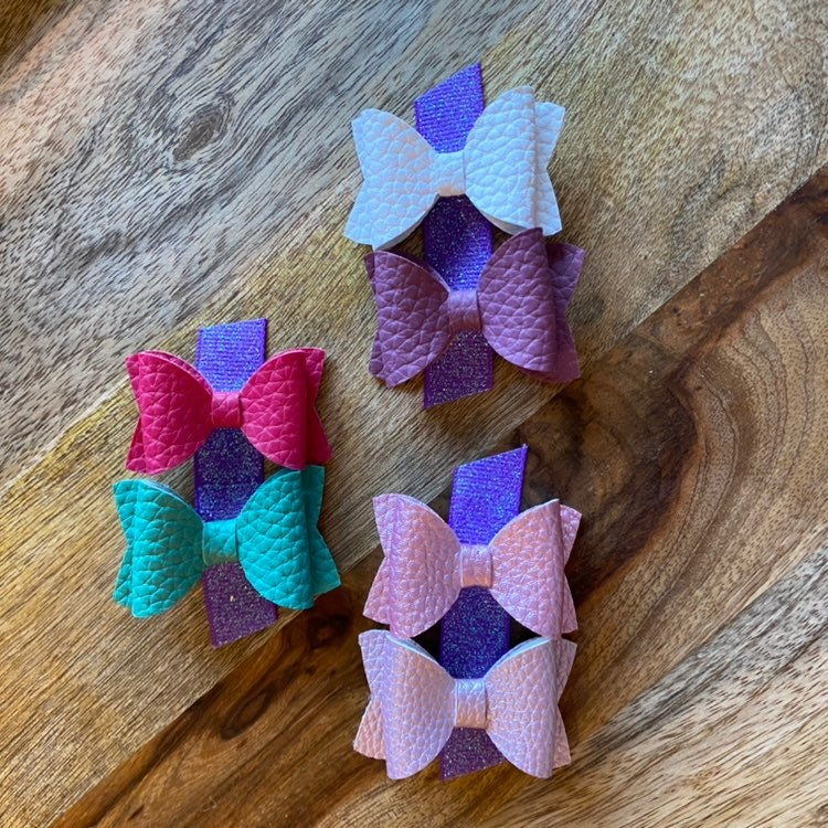 """3 Pairs of 2"""" Faux Leather Bow Clips"""