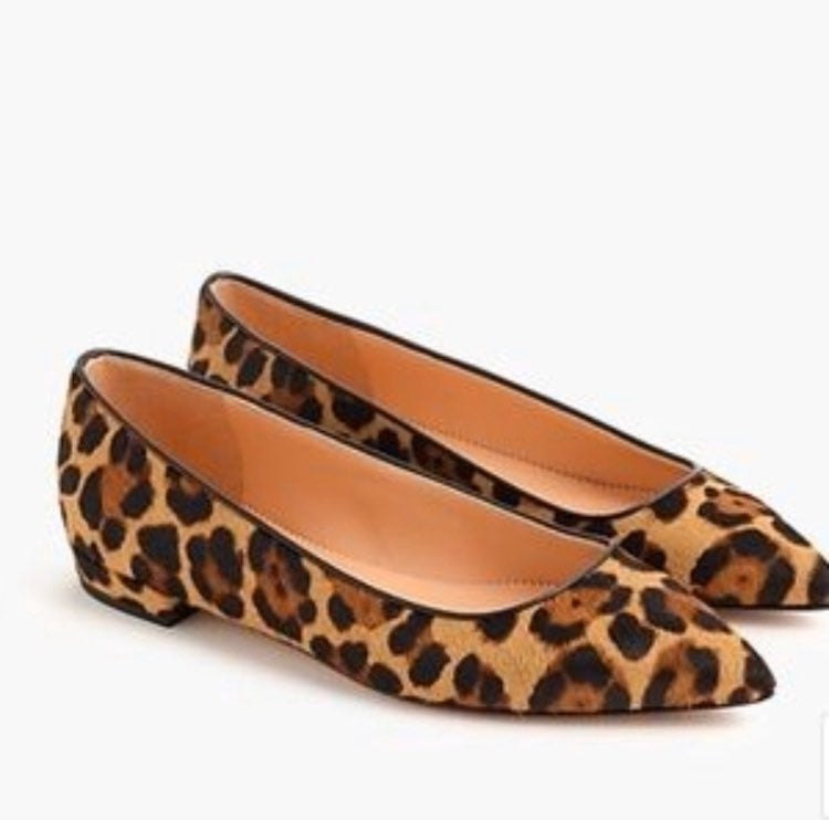 J.Crew Pointed-Toe Flats in Leopard Calf