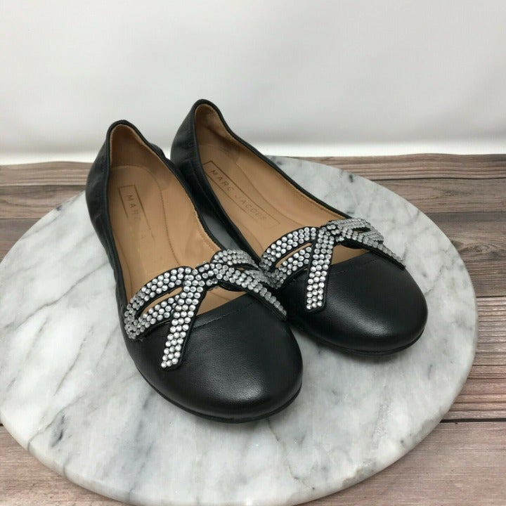 Marc Jacobs Willa Strass Black Flats