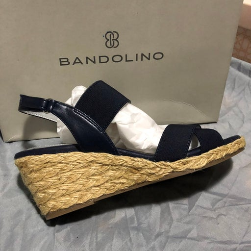 Bandolino Womens Hearsay 2 Stretch Criss-Cross Wedge Sandals Shoes