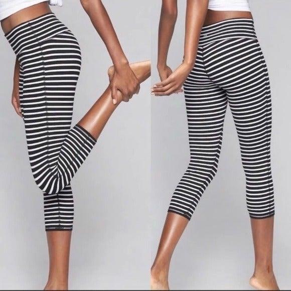 Athleta black stripe yoga crop leggings