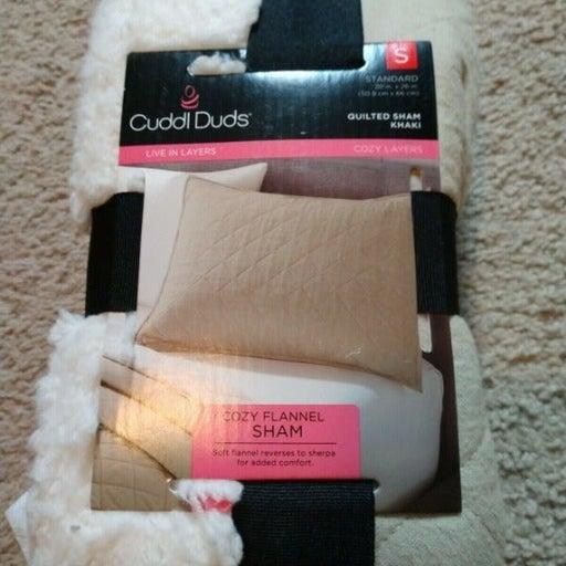 Cuddl Duds Quilted Beige Flannel Sham