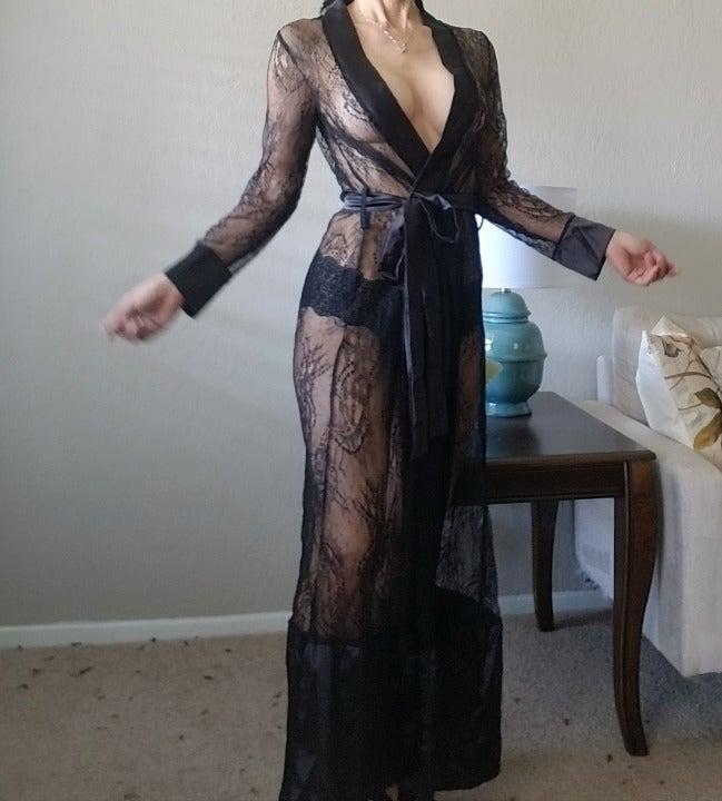 Black Lace Long Elegant Nightgown XL