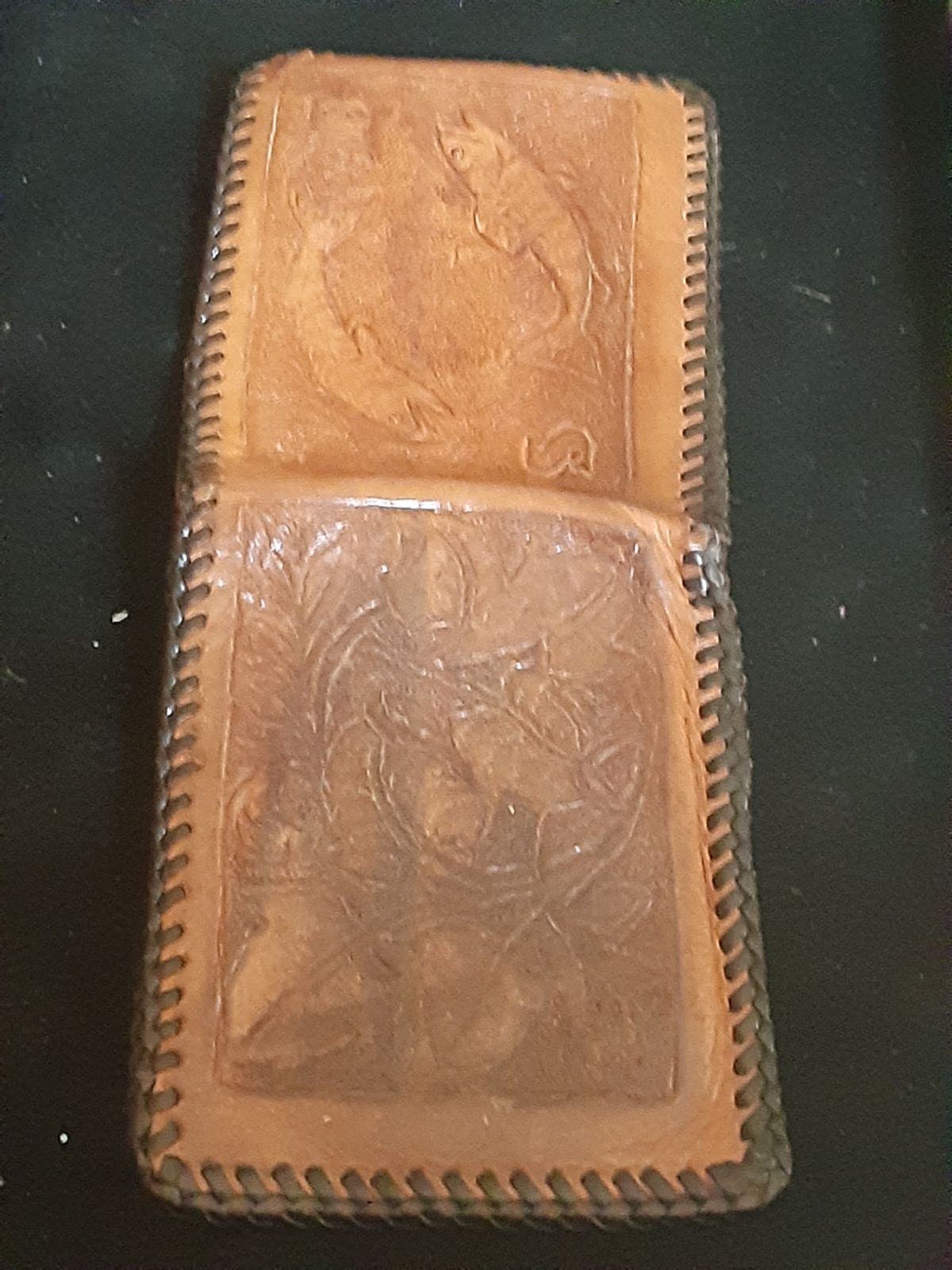 Antique all leather hand stitched wallet