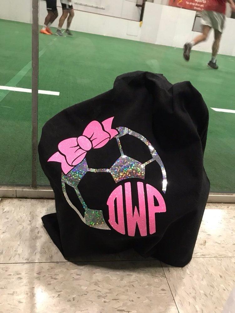 Monogramed girls Soccer tote bag