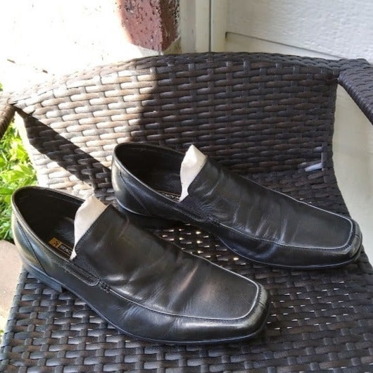 STACEY ADAMS BLACK LEATHER DRESS SHOES