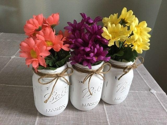 Distressed mason jars w/silk flowers