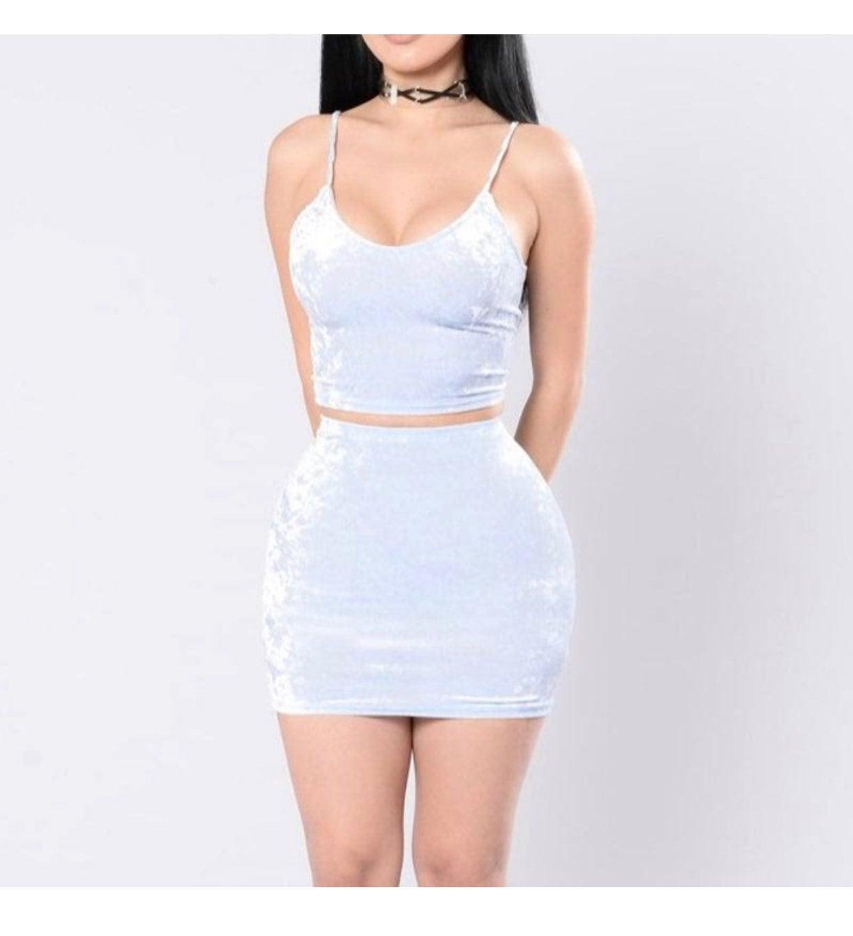 Crushed Velvet 2 piece skirt set US S