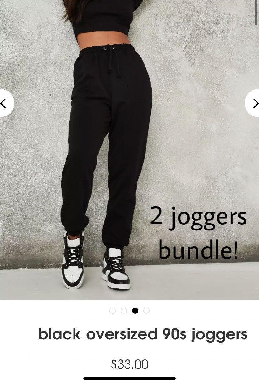 black high waisted joggers