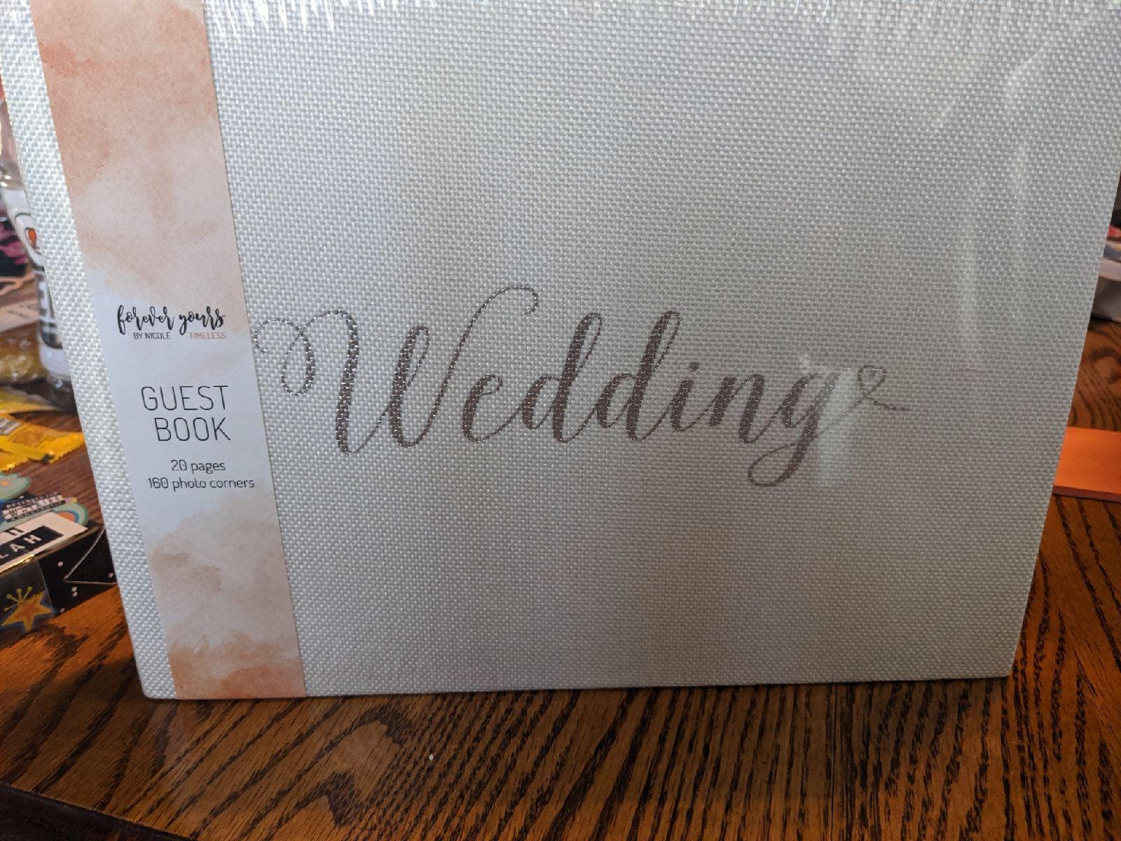 White Burlap Wedding Guest Book