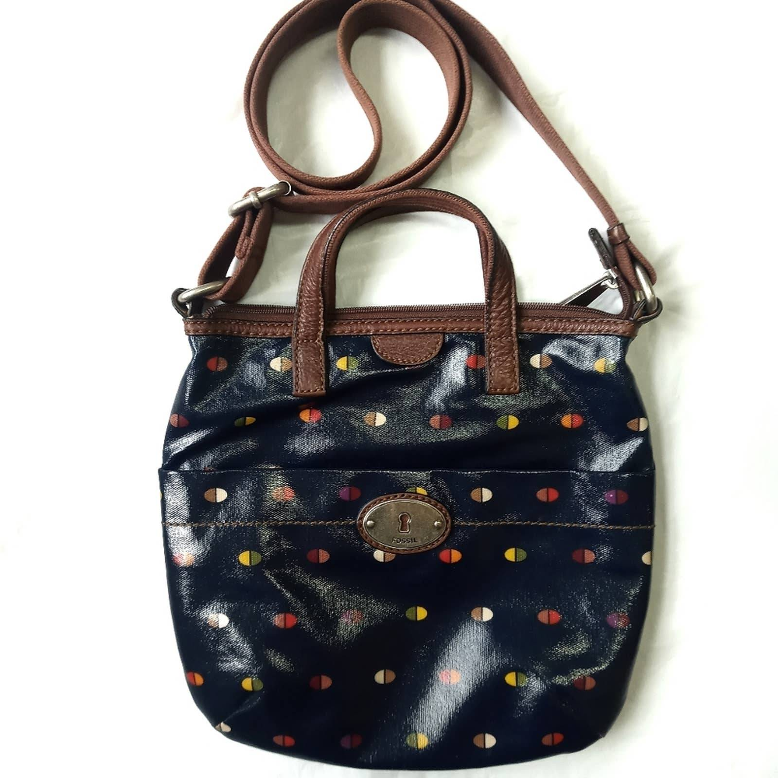 Fossil Key-per coated canvas blue dot