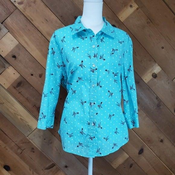 Button up polka dot and bird teal shirt