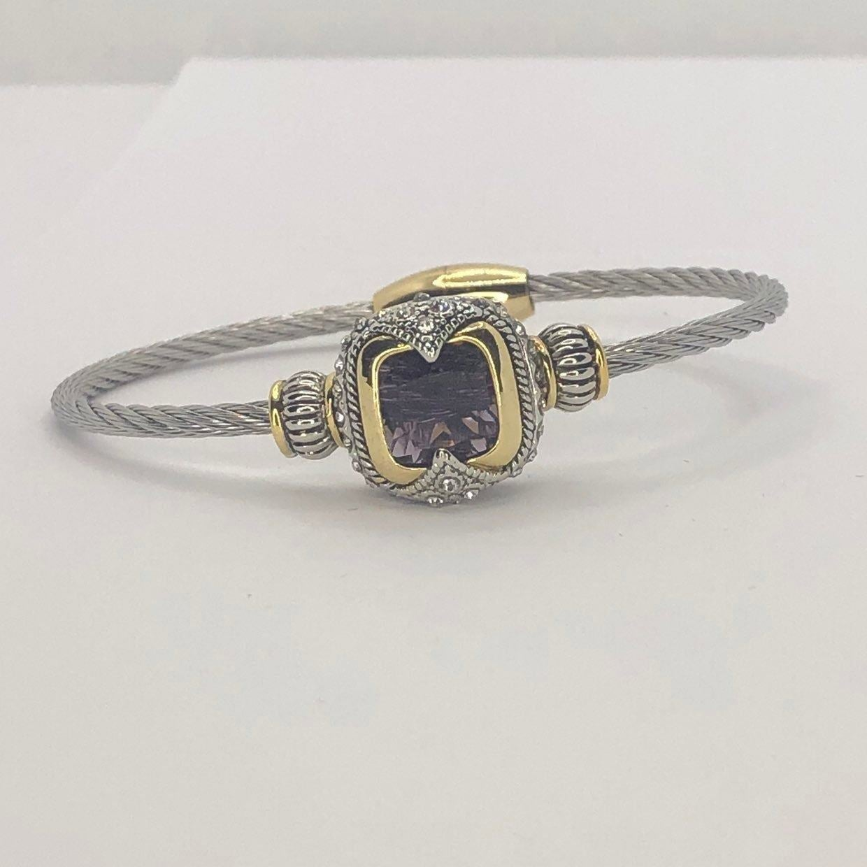 Silver Amethyst Cable Rope Bracelet