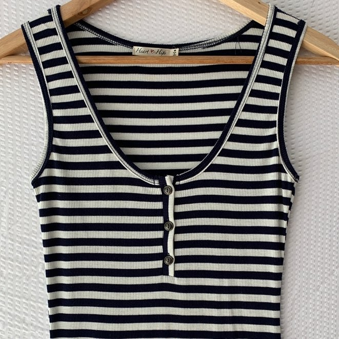 Navy + White Striped Nautical Sundress M