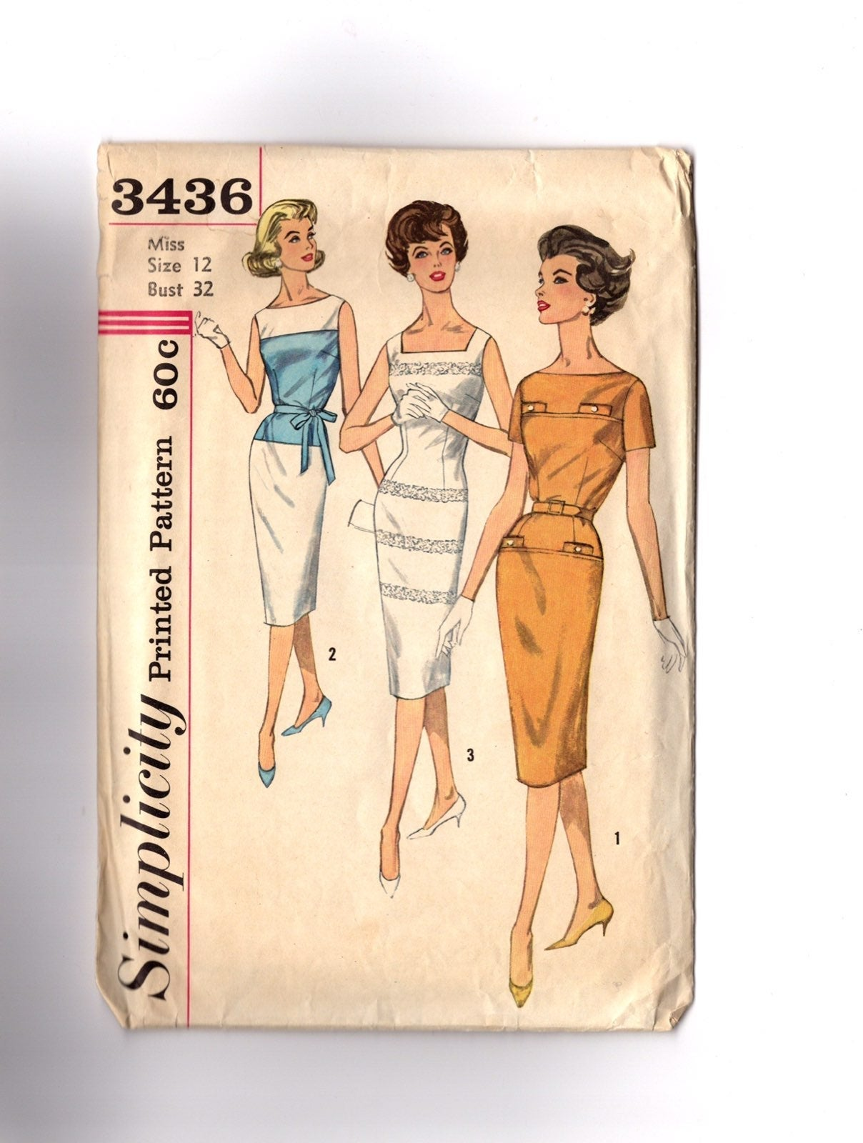 Vintage Pattern 1960s Sheath Dress