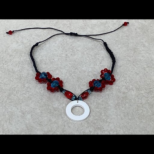 Blue and Red FLOWER Choker with Pendant