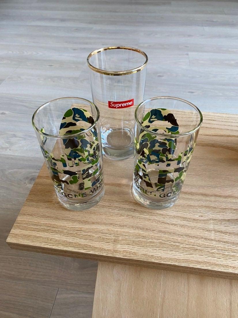 Supreme Bape Green Camo Glass Drinking C