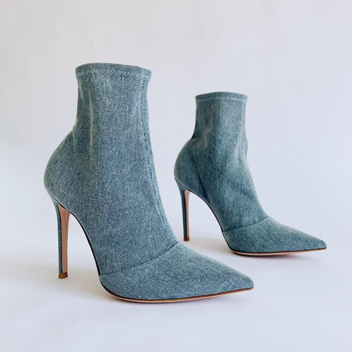 Gianvito Rossi Booties Denim Blue Heels