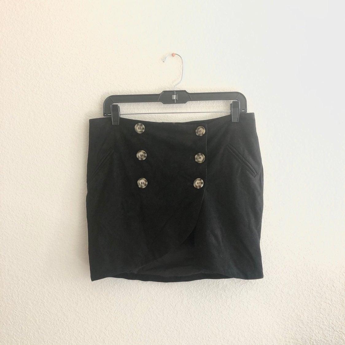 olivaceous faux suede wrap mini skirt
