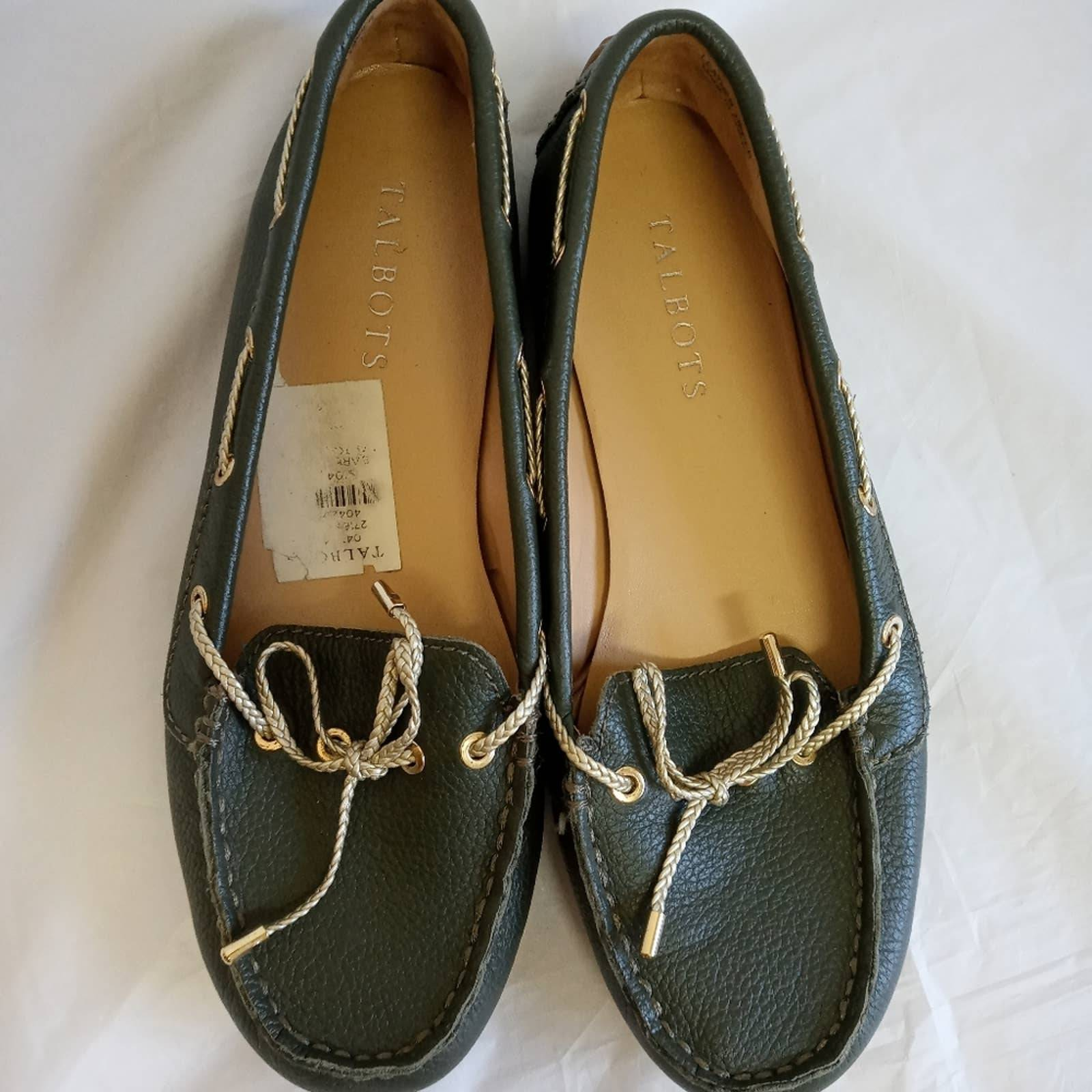 Talbots flats green loafers moccasins
