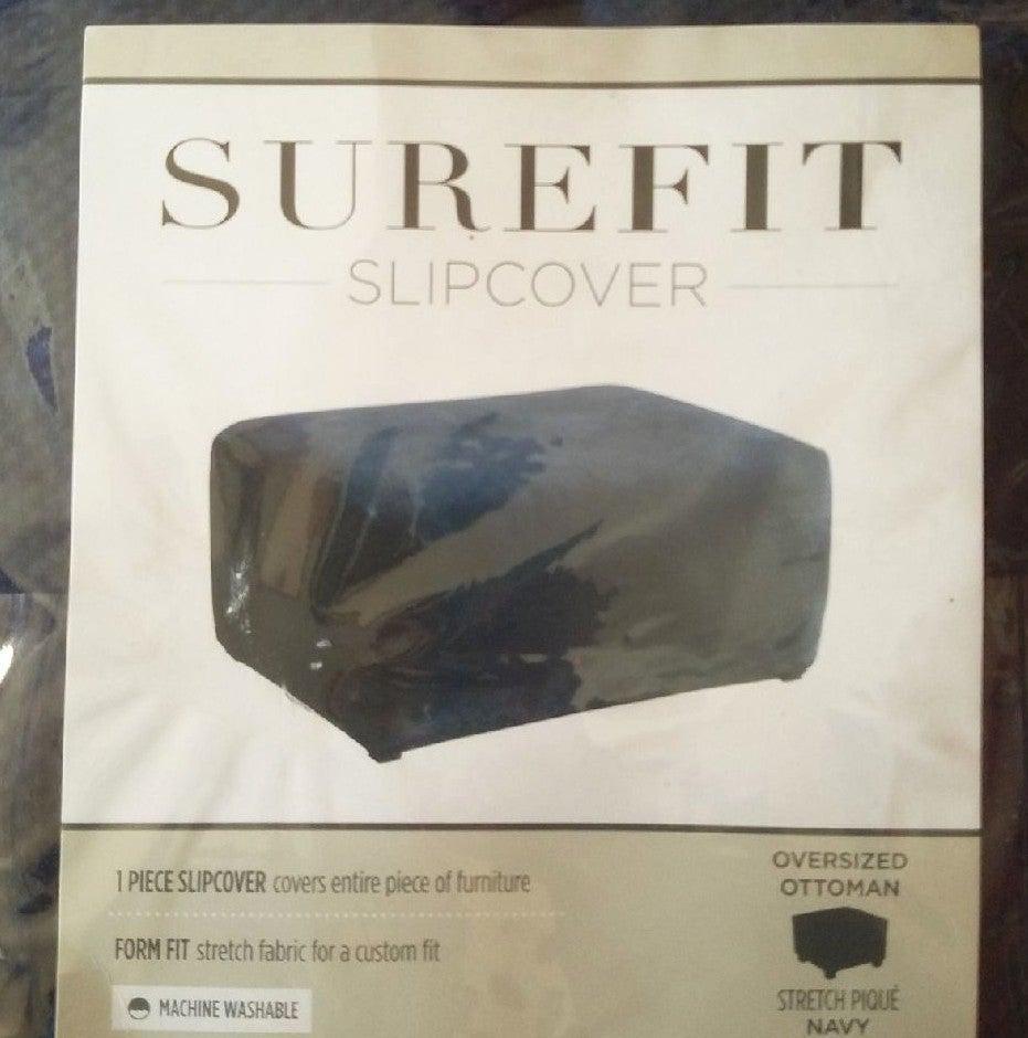 Surefit Ottoman Slipcover Navy Blue FINA