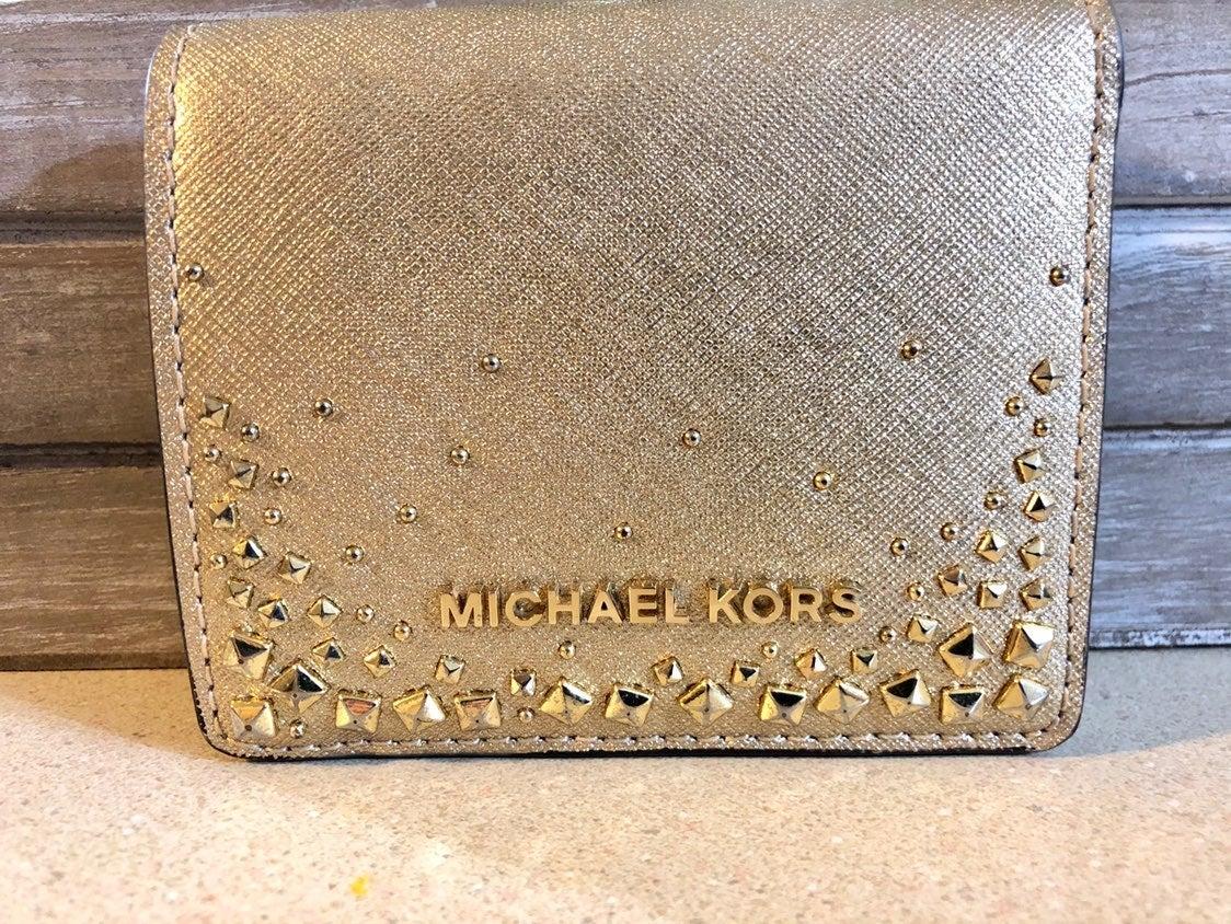 Michael Kors Wallet Small Metallic Gold