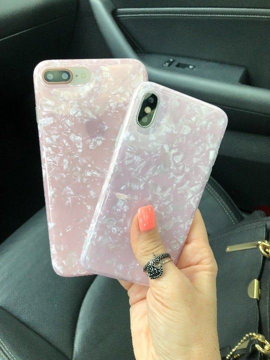 NEW iPhone X Pink Pearl Shell Case