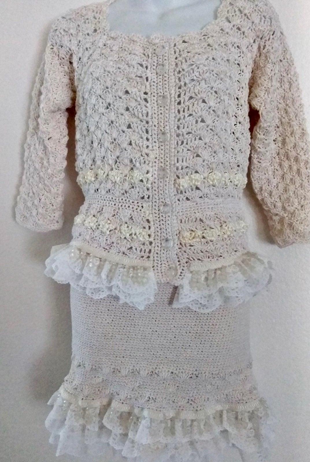 Crocheted cotton lace 2-piece suit