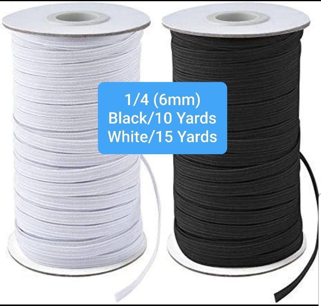 1/4 Black & White Elastic - 25 yard