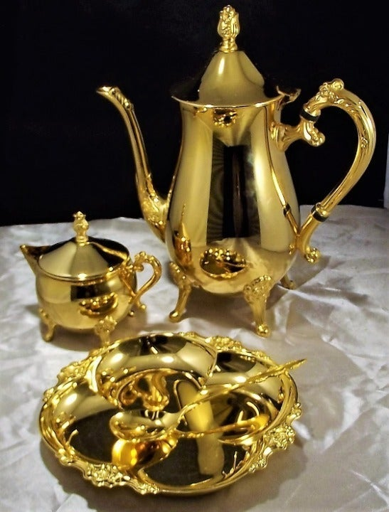 23K GOLD PLATED CANDY DISH/TEA SET