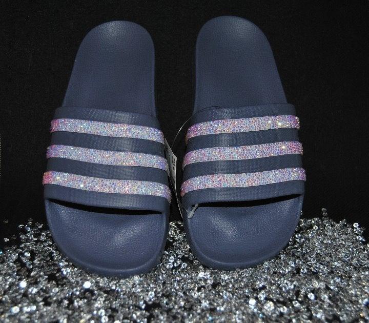 Adilette Aqua Lilac Bling Bling Slides 8