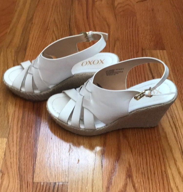 XOXO White Wedge Sandals