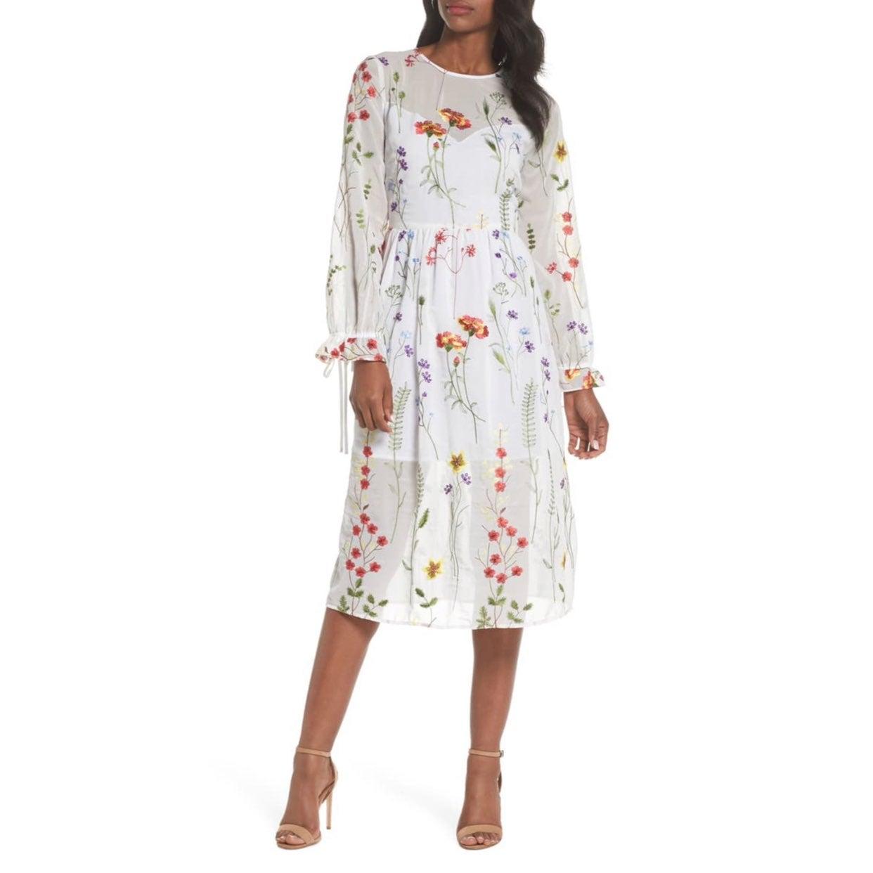 Chelsea28 Sheer Embroidered Midi Dress