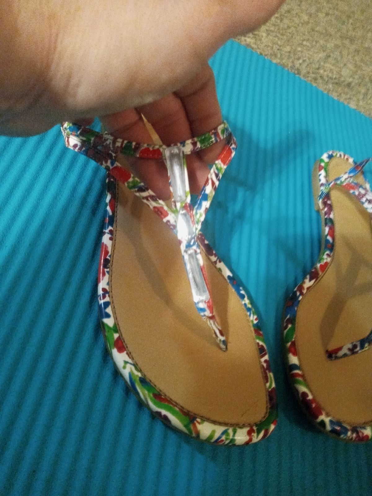 Fioni Floral Beaded T Strap Flat Sandals