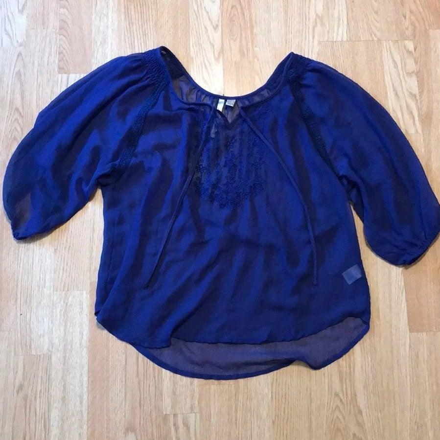 Sheer royal blue blouse