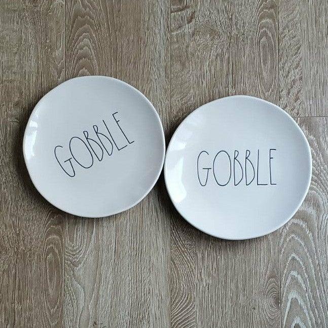 """Rae Dunn LL """"GOBBLE"""" Dinner Plate Set"""