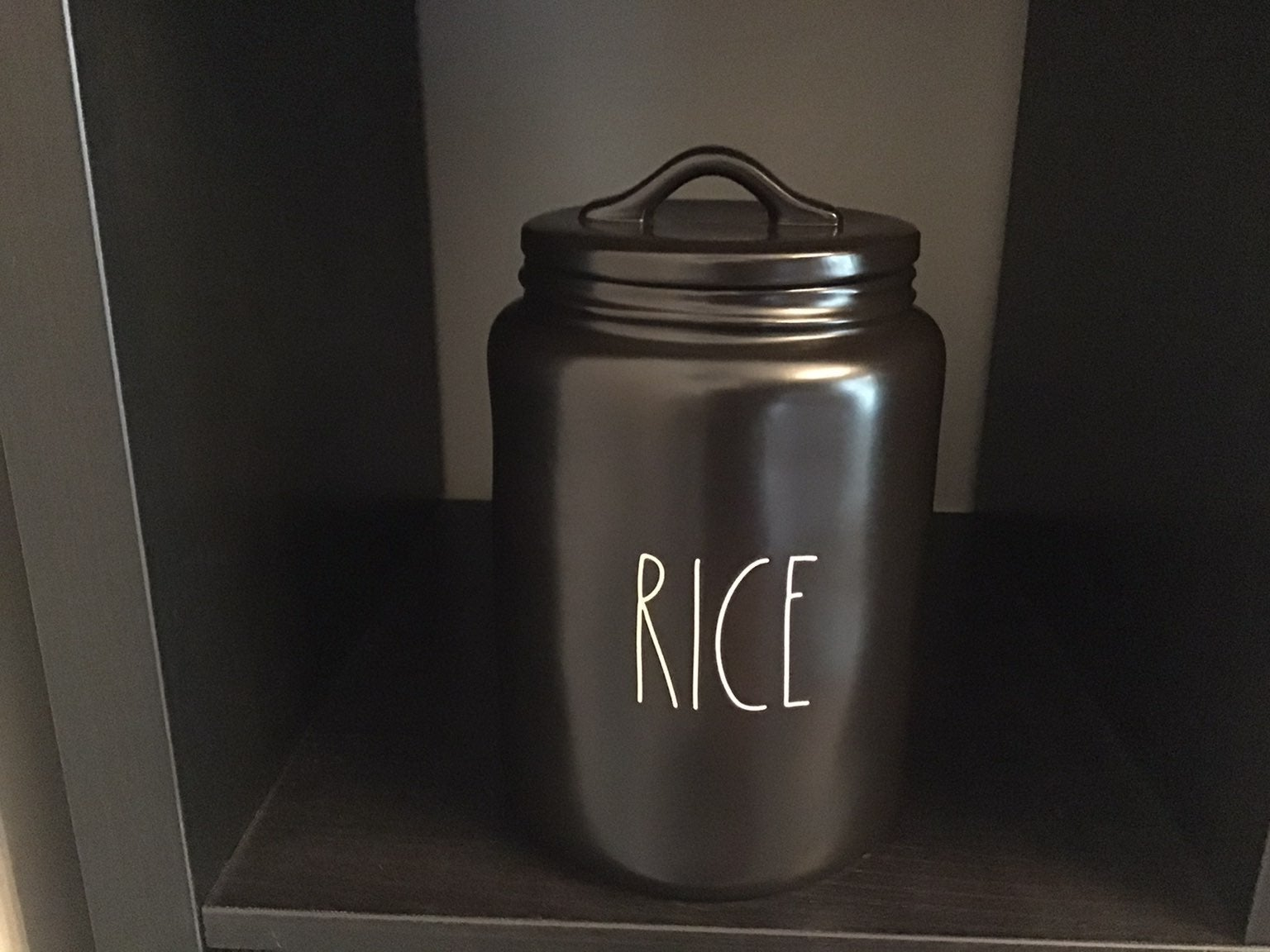 Rae Dunn Black Rice Canister