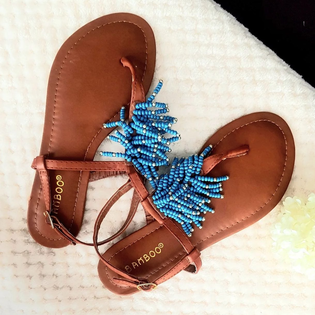BAMBOO CAITLYN BLUE  BEADED SANDALS