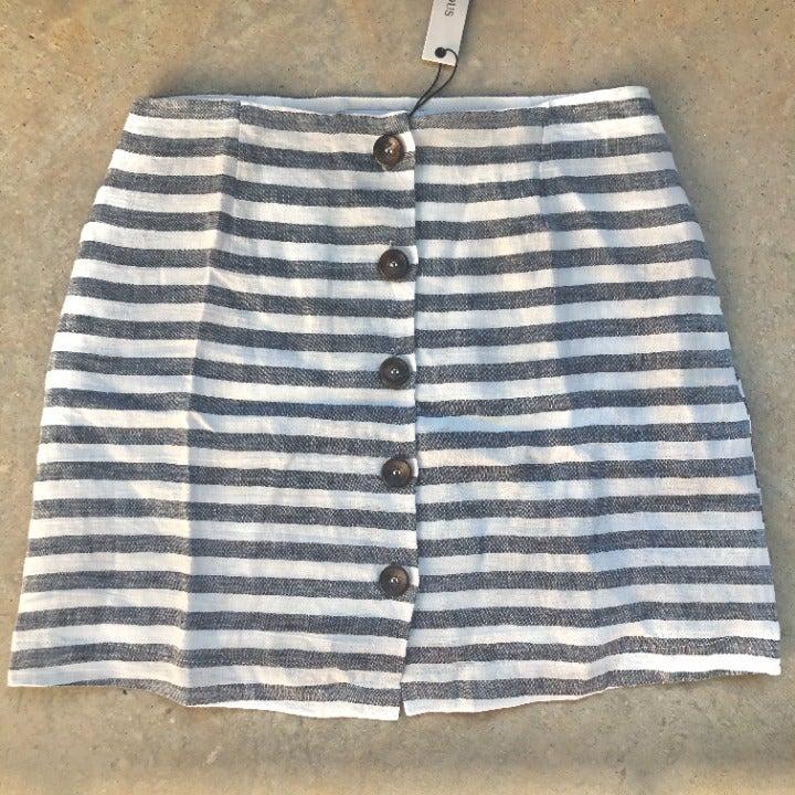 Olivaceous button front linen skirt