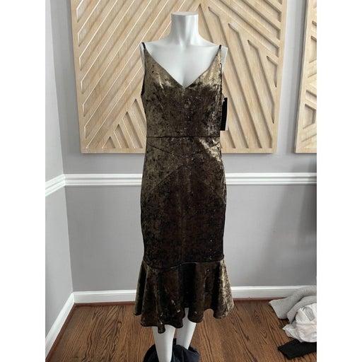 NWT JANIE BRYANT for BLACK HALO Gold Bronze Velvet Midi Dress - Size 8