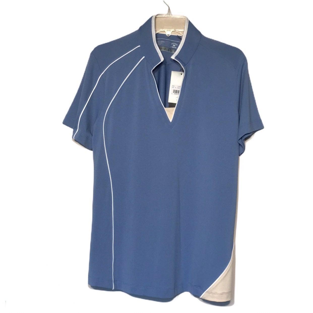 Cutter & Buck Dry Tec Blue Golf Top