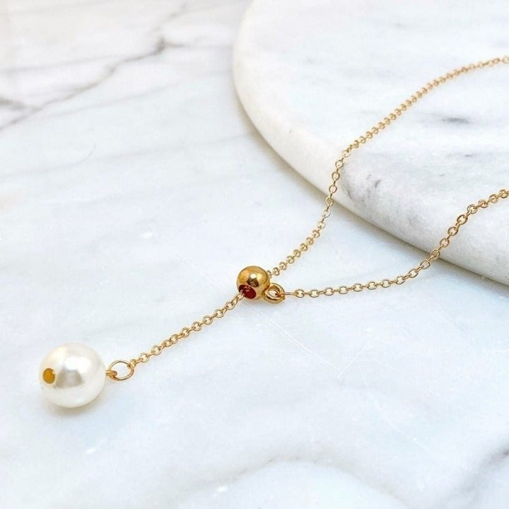 Pearl Slider Lariat Style Necklace