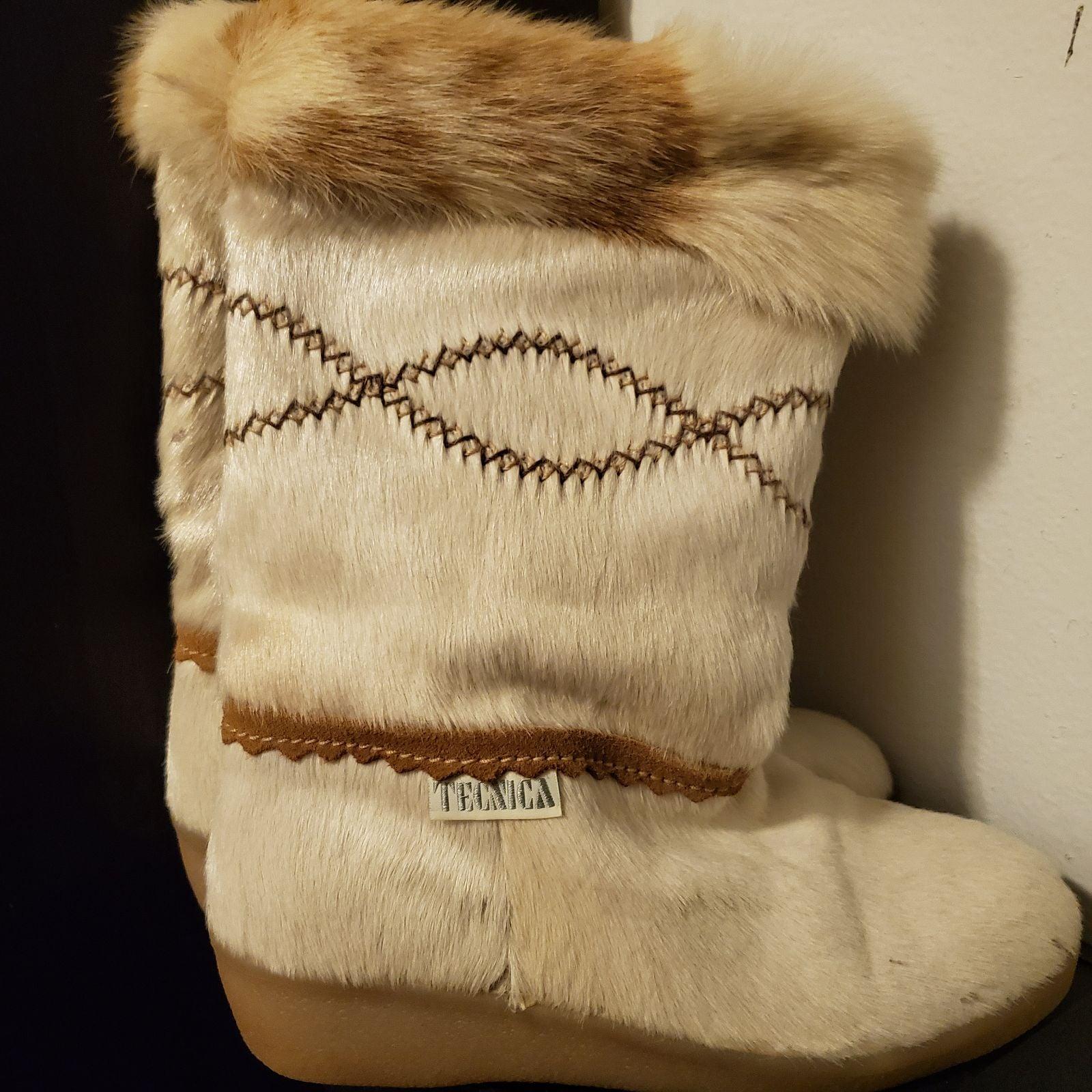 Tecnica White Fur Winter Boots Size 8