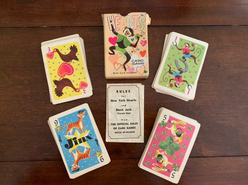 Vintage Animal hearts Whitman card game