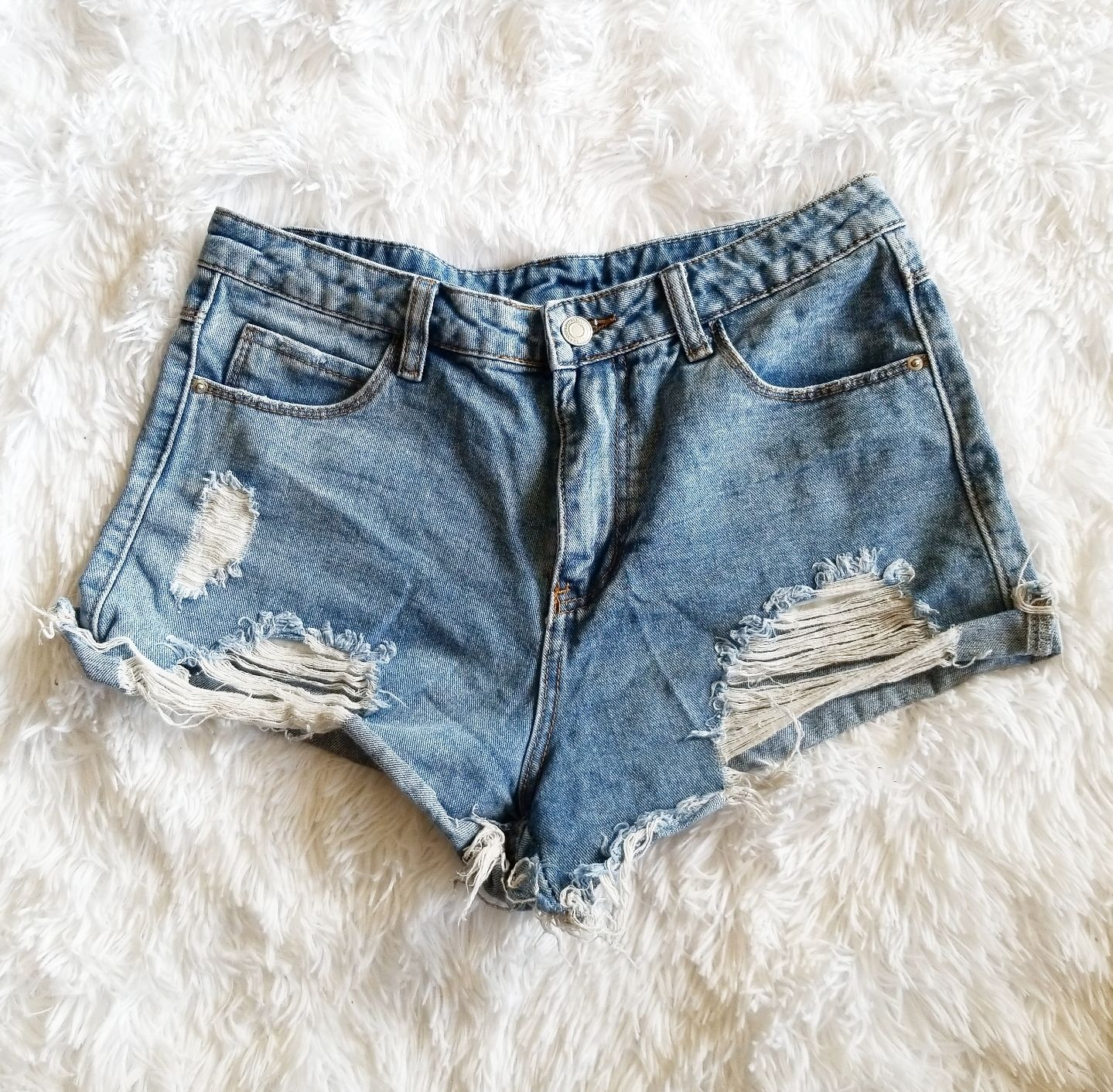 SHEIN High Waisted Ripped Shorts