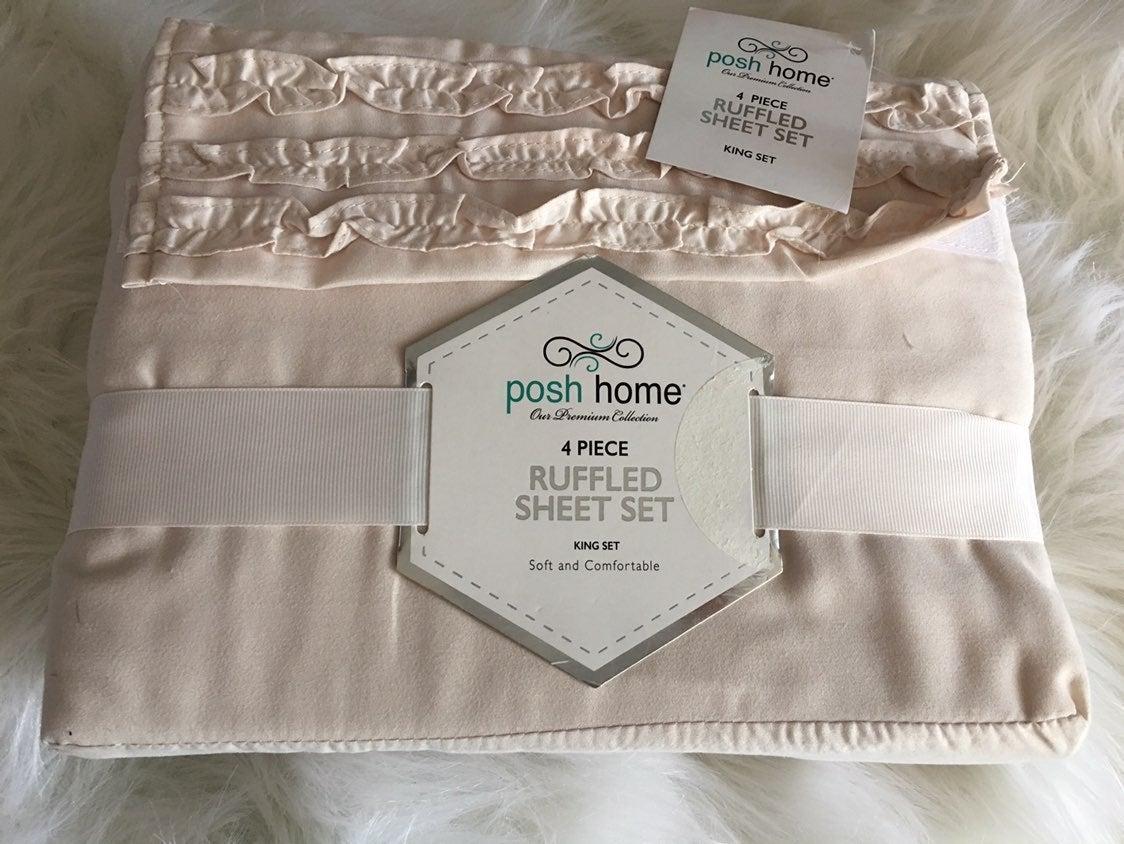 king size sheets Pale Pink Ruffle Hem