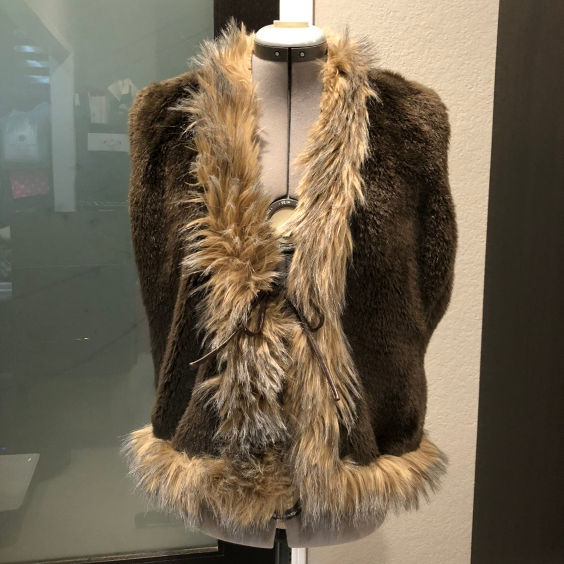 Dark Brown Faux Fur Vest with Trim