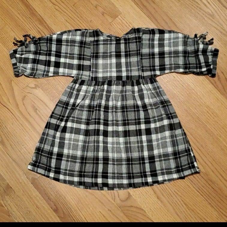 Zara Girls Black and White Plaid Dress