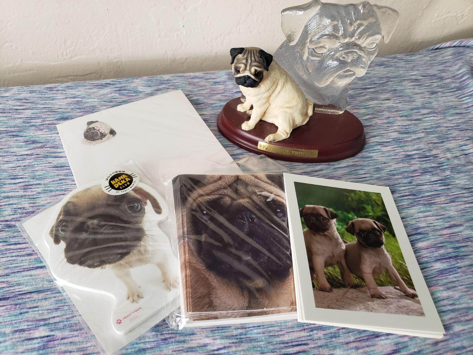 Pug dog lot  notecards memo pads statue